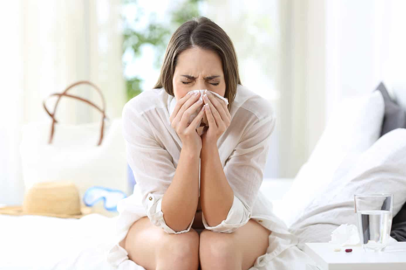 Ill woman coughing